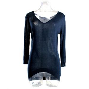 Maglia YES-ZEE di colore Blu con scollo a V collezione autunno inverno capi continuativi abbigliamento firmato donna ingrosso grossisti stock stocchisti