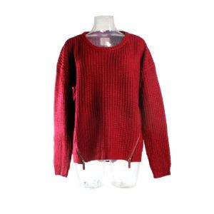 Maglione SH di colore rosso da donna con cerniere collezione autunno inverno prodotto continuativo abbigliamento firmato ingrosso grossisti stock stocchisti