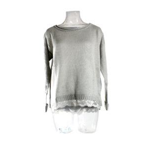 Maglia SH di colore Grigio con Pizzo collezione autunno inverno prodotto continuativo abbigliamento firmato donna stock ingrosso grossisti stocchisti