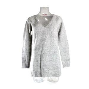 Maglione SH di colore Grigio da donna con scollo a V collezione autunno inverno prodotto continuativo abbigliamento firmato ingrosso grossisti stock stocchisti