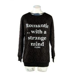 Felpa FRACOMINA colore nero in pizzo con scritta bianca nuova collezione autunno inverno abbigliamento firmato ingrosso