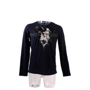 Maglia GUESS manica lunga di colore Blu collezione autunno inverno abbigliamento firmato uomo ingrosso stock grossisti stocchisti