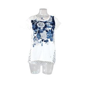 T-shirt di colore Bianco con fiori e pois di colore Blu FRACOMINA da donna nuova collezione primavera estate abbigliamento firmato donna emilia romagna ingrosso vendita abbigliamento stock grossisti stocchisti