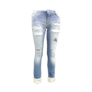 Jeans con strappi e perline MET donna abbigliamento firmato donna accessori firmati emilia romagna ingrosso vendita abbigliamento stock grossisti stocchisti