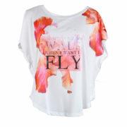 T-shirt Bianca con decorazione floreale GUESS abbigliamento firmato donna accessori firmati emilia romagna ingrosso vendita abbigliamento stock grossisti stocchisti