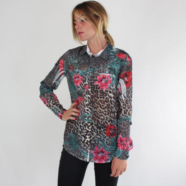 Camicia fantasia maculata e floreale GUESS