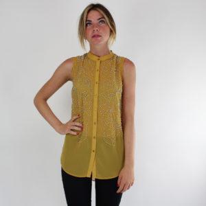 Camicia colore giallo con strass GUESS abbigliamento firmato donna ingrosso grossisti stock stocchisti
