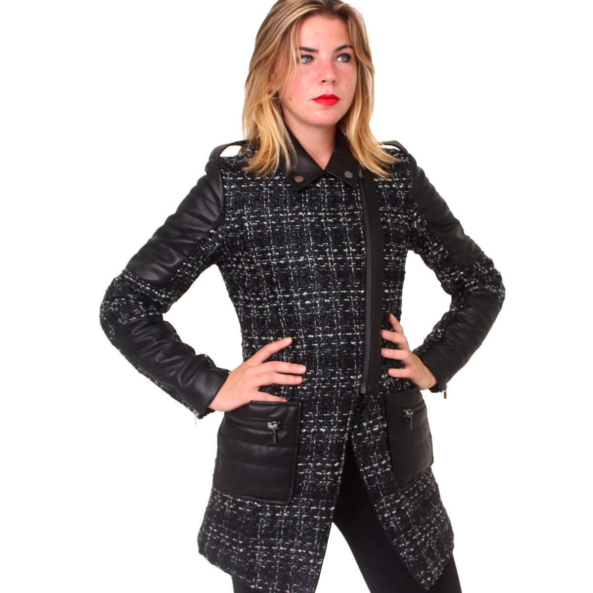 Cappotto nero con inserti in ecopelle FRACOMINA abbigliamento firmato donna  accessori firmati emilia romagna ingrosso vendita ... 26f2f7fa1cd