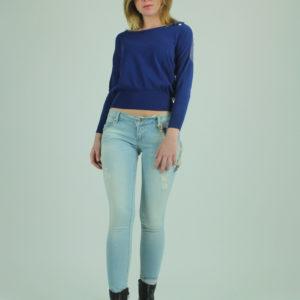 Maglione blu con pizzo FRACOMINA abbigliamento firmato donna accessori firmati emilia romagna ingrosso vendita abbigliamento stock grossisti stocchisti