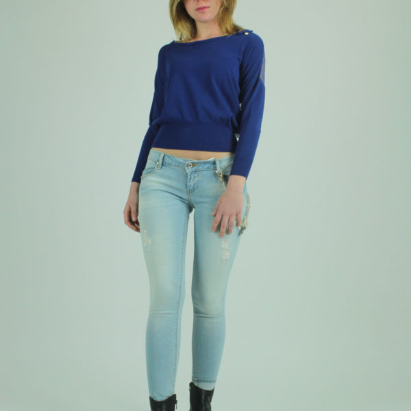 Maglione blu con pizzo FRACOMINA