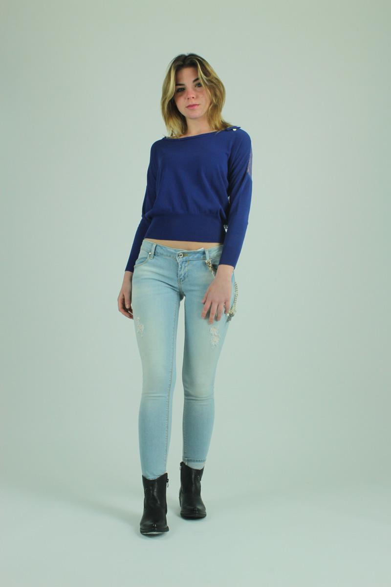 molto carino f35ff 3deb0 Maglione blu con pizzo FRACOMINA collezione autunno-inverno
