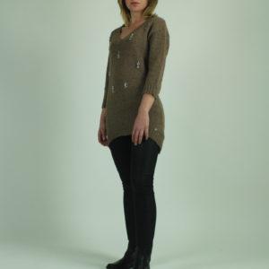 Maglione beige con applicazioni FRACOMINA abbigliamento firmato donna accessori firmati emilia romagna ingrosso vendita abbigliamento stock grossisti stocchisti