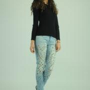 Jeans con strappi e borchie MET abbigliamento firmato donna accessori firmati emilia romagna ingrosso vendita abbigliamento stock grossisti stocchisti