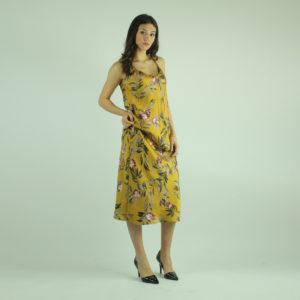 Abito giallo fantasia floreale VICOLO abbigliamento firmato donna accessori firmati emilia romagna ingrosso vendita abbigliamento stock grossisti stocchisti