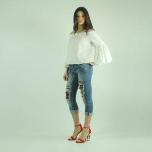 Jeans con strappi e toppe PLEASE abbigliamento firmato donna accessori firmati emilia romagna ingrosso vendita abbigliamento stock grossisti stocchisti