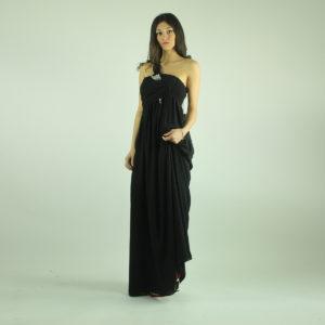 Abito nero lungo con perle NENETTE abbigliamento firmato donna accessori firmati emilia romagna ingrosso vendita abbigliamento stock grossisti stocchisti