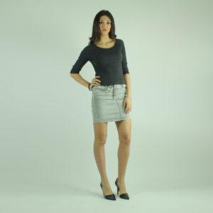 Minigonna jeans grigia PLEASE abbigliamento firmato donna accessori firmati emilia romagna ingrosso vendita abbigliamento stock grossisti stocchisti