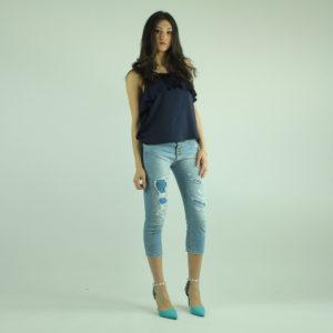 Top colore blu con volant IMPERIAL abbigliamento firmato donna accessori firmati emilia romagna ingrosso vendita abbigliamento stock grossisti stocchisti