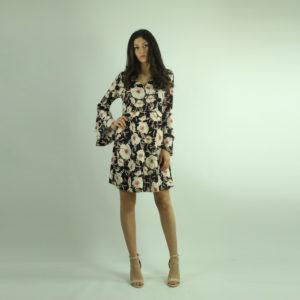 Abito nero a fantasia floreale IMPERIAL abbigliamento firmato donna accessori firmati Emilia Romagna ingrosso vendita abbigliamento stock grossisti stocchisti