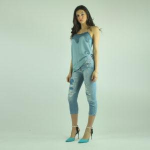 Top azzurro con pizzo IMPERIAL abbigliamento firmato donna accessori firmati Emilia Romagna ingrosso vendita abbigliamento stock grossisti stocchisti