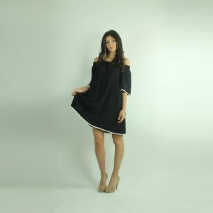 Abito nero con rifiniture bianche REVISE abbigliamento firmato donna accessori firmati Emilia Romagna ingrosso vendita abbigliamento stock grossisti stocchisti