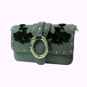 Pochette grigia con ricamo floreale nero LIU-JO abbigliamento firmato donna accessori firmati Emilia Romagna ingrosso vendita abbigliamento stock grossisti stocchisti